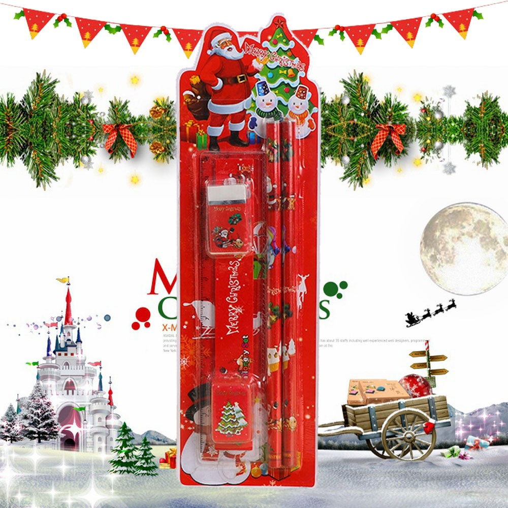 Christmas Stationery Set Pencil Eraser Ruler Cutting Pen Plane Combination Primary School Christmas Gift For Drawing Writing #