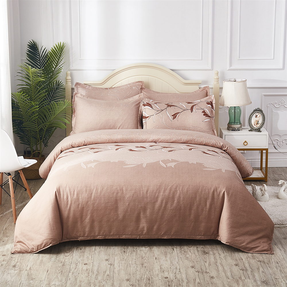 Thumbedding Light Brown Bedding Set Queen Size Classic Soft Elegant Duvet Cover Orchid King Twin Full Single Double Bed Set