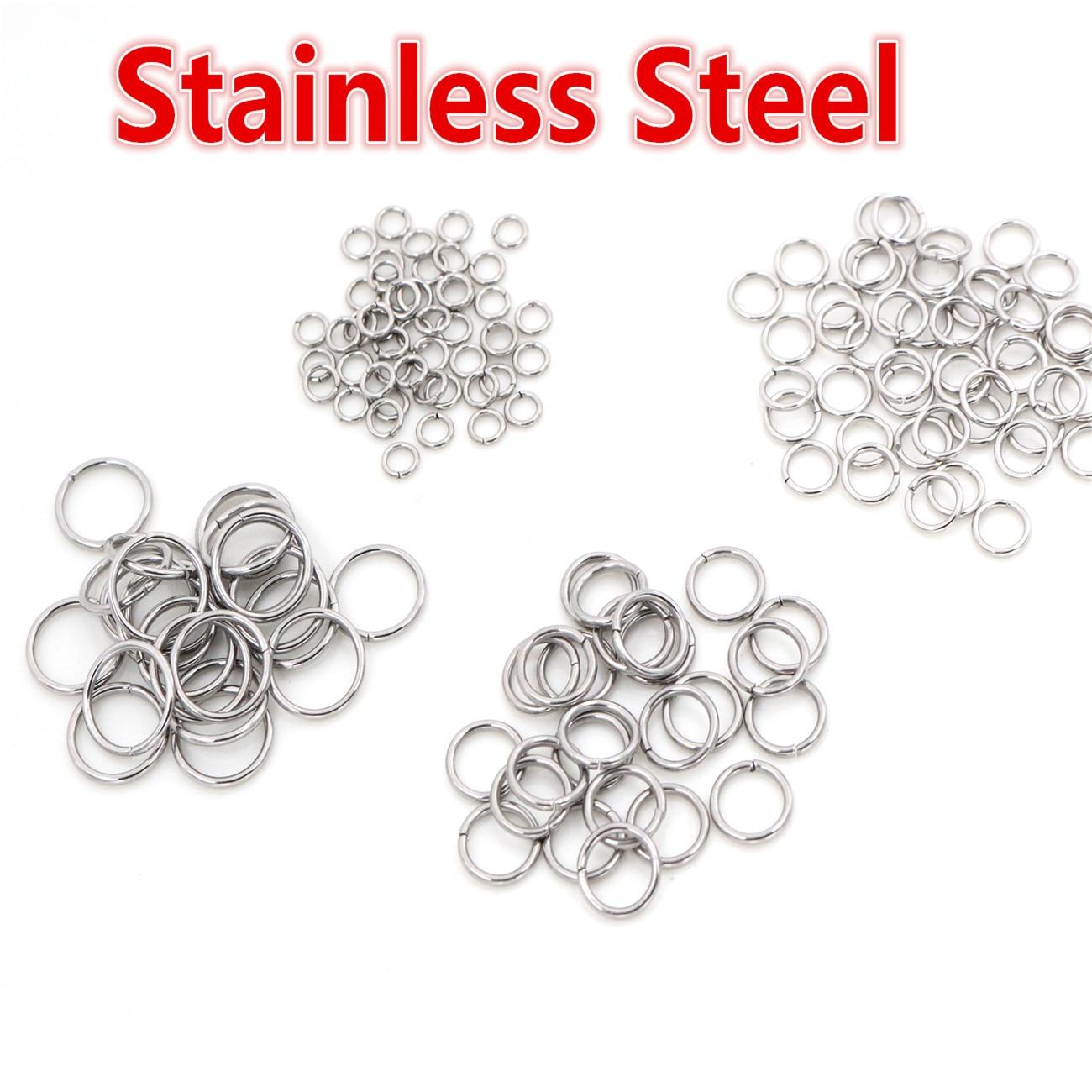 200 pçs/lote 3/4/5/6/7/8/10mm de aço inoxidável diy jóias descobertas aberto único loops salto anéis & split anel para fazer jóias