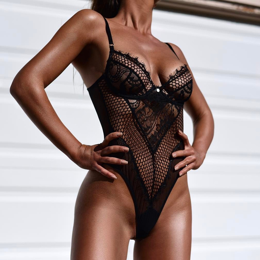 Deep V Fashion Lace Sexy Bodysuit Female Patchwork Mesh Transparent Female Jumpsuit Slim Body Lace Sexy Ladies Underwear