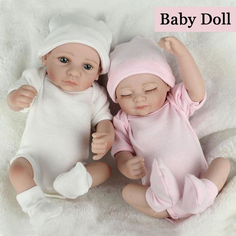 Branco 28cm realista neonatal silicone vinil reborn presente bebê renascer silicone macio bonito