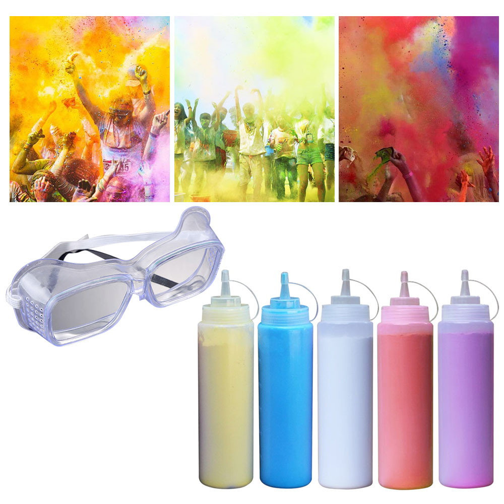 Besegad 5 Bottles Colored Powder Running Throw Colored Corn Starch Powder Flour With Glasses For HOLI Christmas Party Celebrates