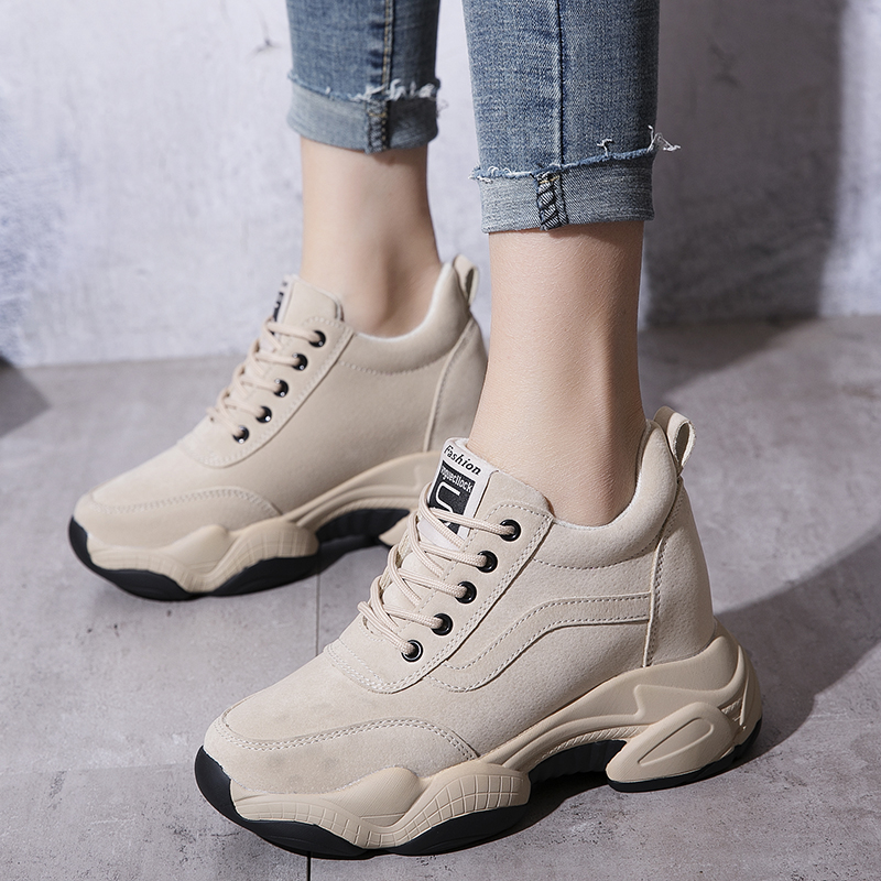 Height Increasing Fashion Women Casual Shoes Genuine Leather Platform Sneakers Lace Up Ladies Wedges Shoes Woman Winter XU191