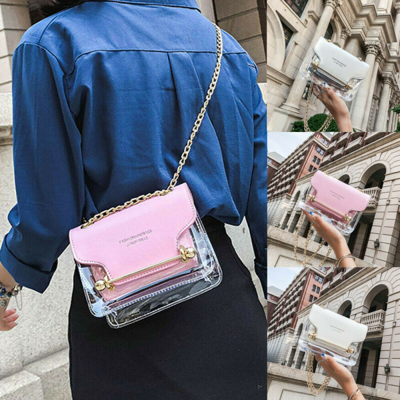 Hot Summer PVC Transparent Clear Clutch Bag Chain Tote Jelly Bag Shoulder Handbag PVC Transparent Portable Fashion Shoulder Bag