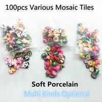 100pcs Various Mosaic Tiles Soft Porcelain Stones DIY Art and Crafts Materials for Kids/Children Handmade Ceramic Mosaic Tile