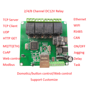 цена на Modbus MQTT CoAP wifi  ethernet web server 4 channel relay rs485 can bus rfid relays