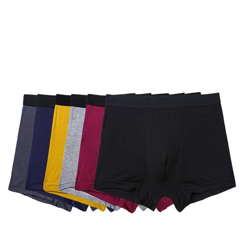 Трусы-боксеры мужские из бамбукового волокна, дышащее нижнее белье, черные эластичные шорты, 6 шт./лот