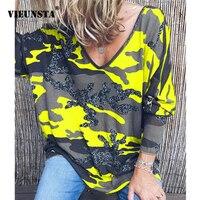VIEUNSTA 2019 женская одежда плюс размер с v-образным вырезом и принтом блузка рубашка женская с длинным рукавом Осенняя блуза Повседневная Свобо...