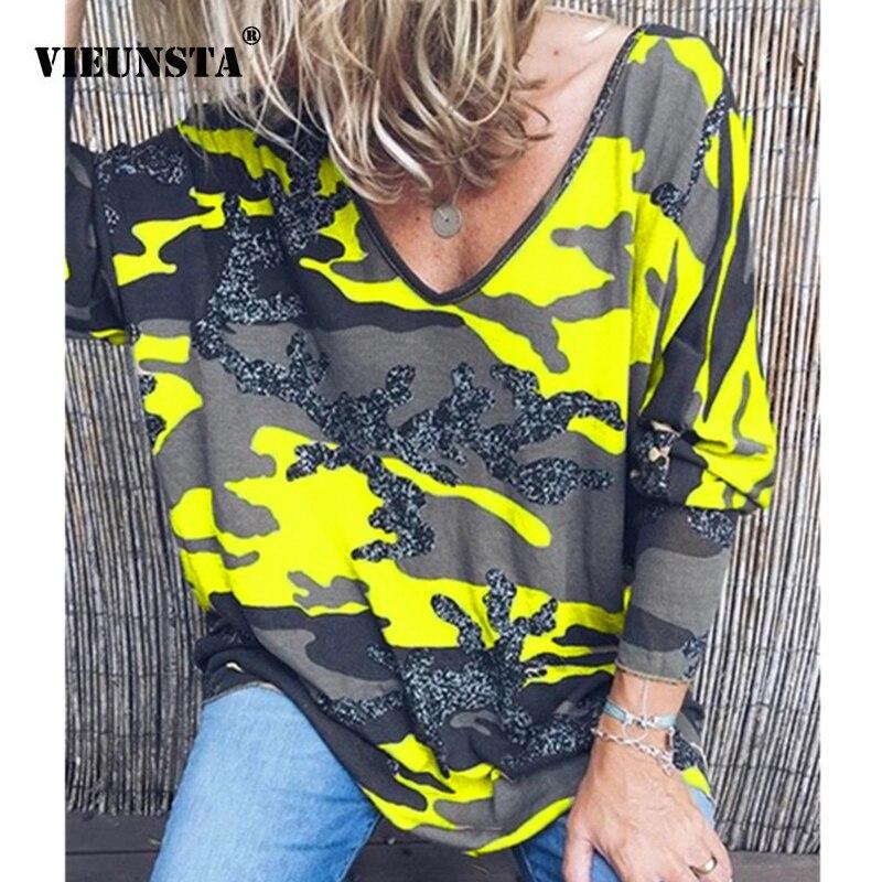 Vieunsta 2019 das mulheres roupas plus size com decote em v impressão blusa camisa feminina manga longa outono blusa casual solto streetwear topo 5xl