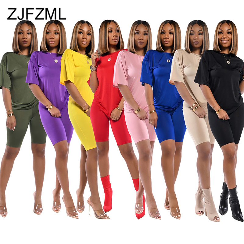 Solid Plus Size Two Piece Set Womens Clothing O-Neck Short Sleeve T Shirt And Bodycon Knee Length Pants Summer Causal Sweatsuits