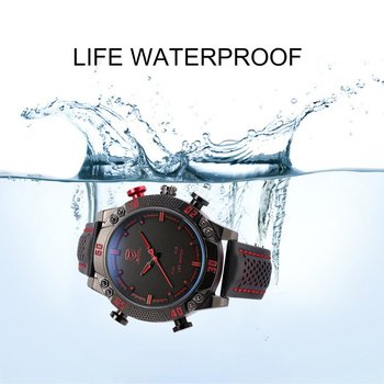 Sport Watch Brand Mens Military Quartz Red LED Hour Analog Digital Date Alarm Leather Wrist Watches weide wh 1009 br stainless steel analog led digital quartz waterproof wrist watch black red