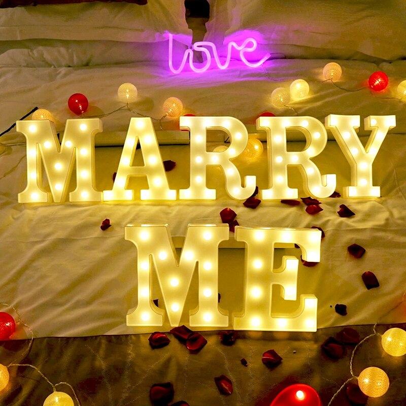 Luminous LED Letter Night Light 26 English Alphabet 0-9 Number Battery Lamp Romantic Wedding Brithday Party Decoration Christmas