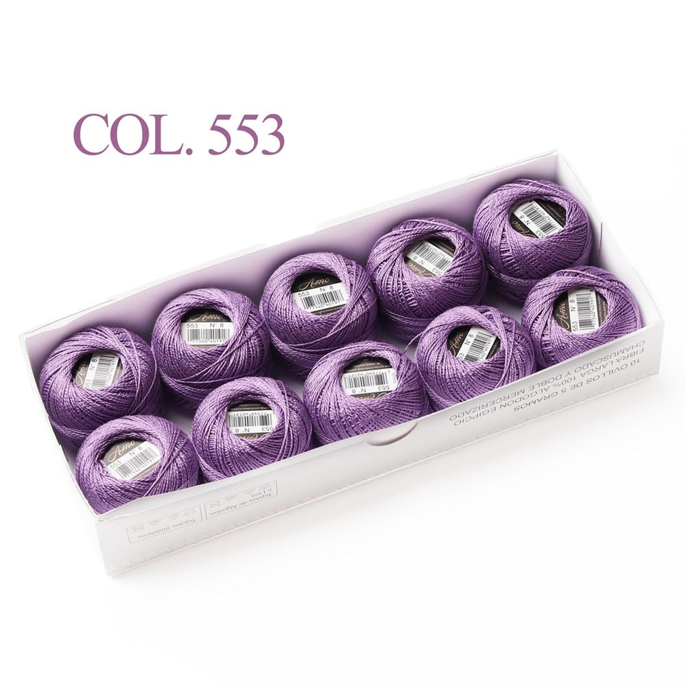 10 коробка с шариками Размер 8 жемчуг Хлопок нитки для вязания 43 ярдов двойная Мерсеризация длинный штапель из египетского хлопка 79 DMC цвета - Цвет: 553