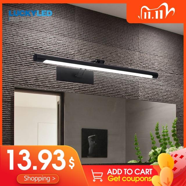 LUCKYLED מודרני Led מראה אור 8W 12W AC90 260V קיר רכוב קיר מנורת חדר אמבטיה אור עמיד למים נירוסטה