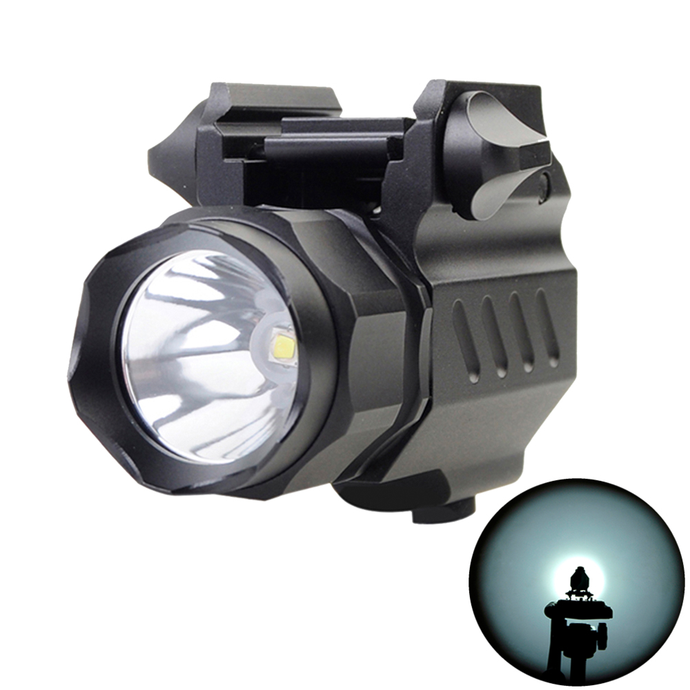 Tactical 300Lm Cree Flashlight Torch for Pistol//Glock Weaver//Picatinny Rail