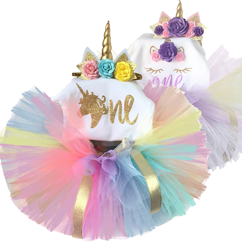 Baby Girls 1st Birthday Outfit Dress Tutu Skirt Cake Smash Photo shoot Rainbow