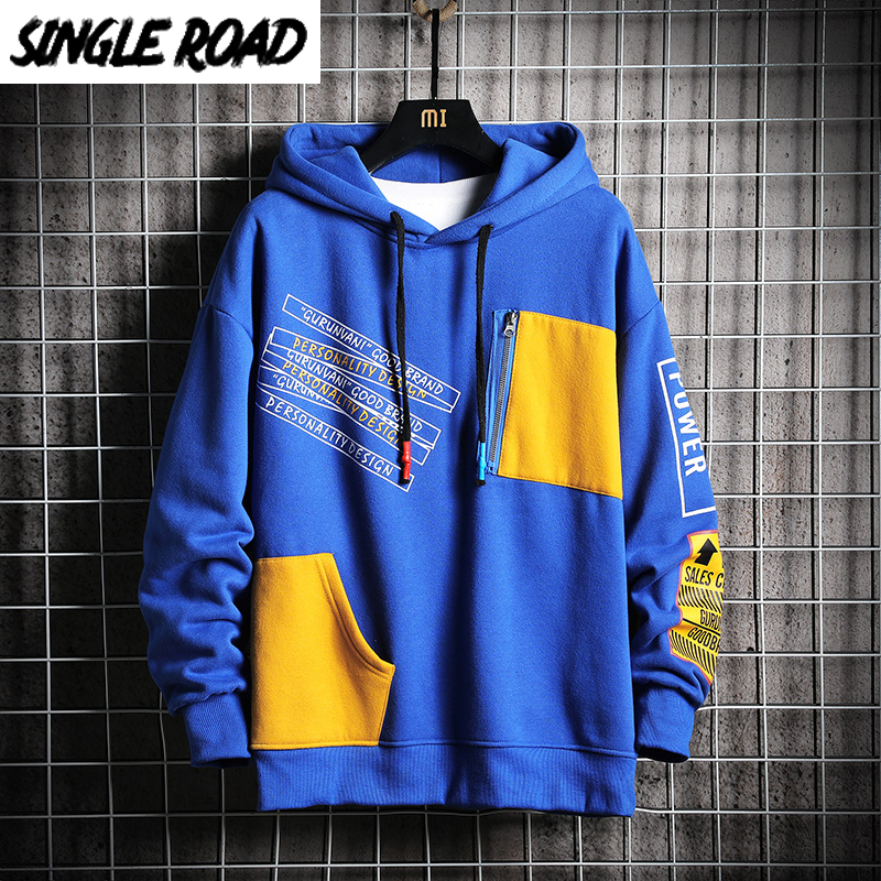 SingleRoad Men's Hoodies Men 2019 Winter Fleece Sweatshirt Male Hip Hop Japanese Streetwear Harajuku Blue Hoodie Men Sweatshirts