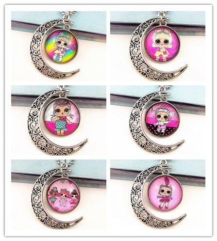 24 шт новые стили мультфильм кукла красочные бусы стеклянные браслеты ожерелье брелок кольцо серьги ювелирные изделия серии для девочек - Окраска металла: Платиновое покрытие