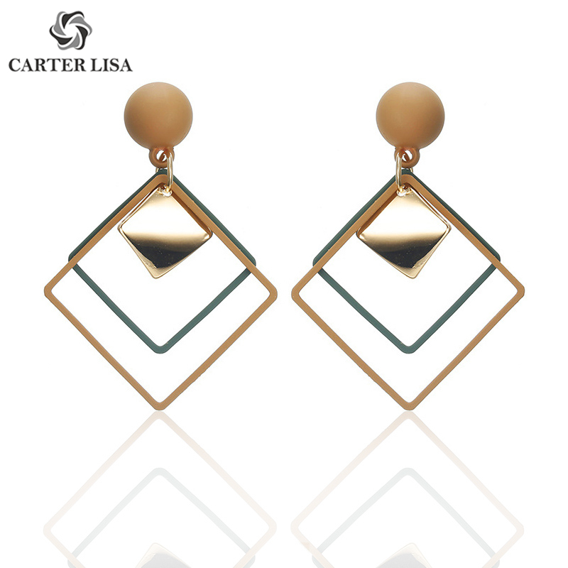 CARTER LISA 2019 Fashion Women Geometric Square Drop Dangles Earrings Elegant Hanging Statement Earring Female Korean Jewelry