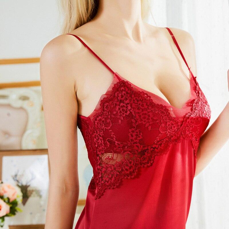 2019 Women's Summer New Style Viscose Slip Nightdress Gauze Sexy Short Skirt With Chest Pad Pajamas