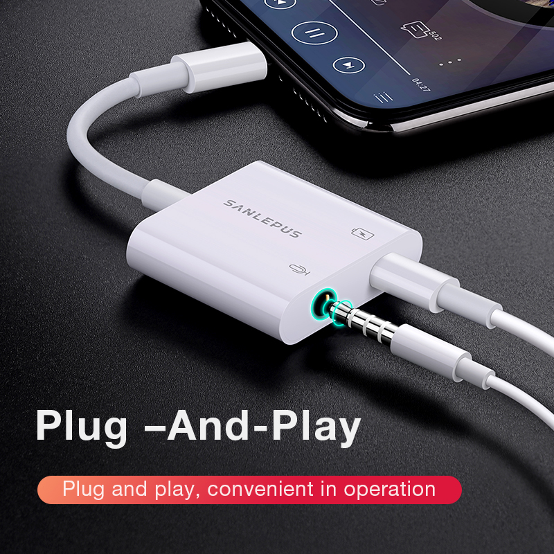 Adapter For Lightning To 3.5mm 2 In 1 Headphones Jack Earphone Aux Splitter For IPhone Max XR 7 8 Plus Xs  Cargador Y Audio