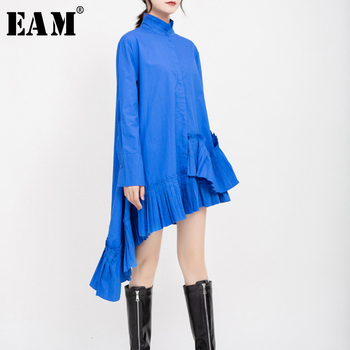 [EAM] Women Blue Pleated Asymmetrical Shirt Dress New Stand Collar Long Sleeve Loose Fit Fashion Tide Spring Autumn 2020 1D701