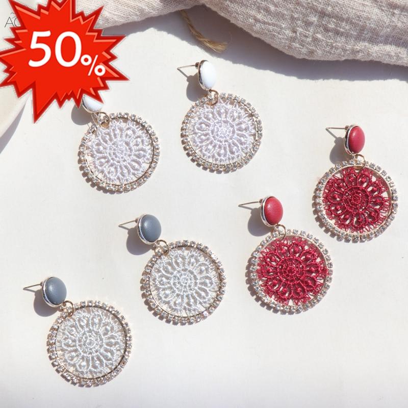 AOMU 2019 corée nouveau cuir bouton rond cristal dentelle fleur géométrique cercle longue goutte boucles d'oreilles pour les femmes étudiant fille cadeau 1