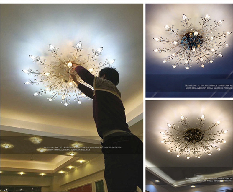 H76db7354618743ff99258d7c533a2141o Modern ceiling light for living room led Crystal ceiling lamp bedroom crystal lamps dining gold loft lighting Crystal Fixtures