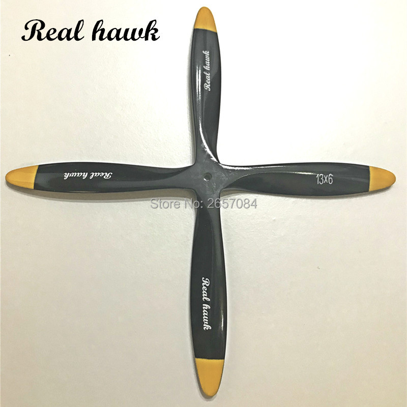 4 Blade 21x8/21x10 CCW or CW Black Wooden Propeller For Scale RC Gas or Nitro engine Airplane Model