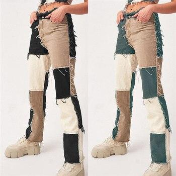High Waist Straight Denim Pants Women Casual Skinny Ripped Jeans  2
