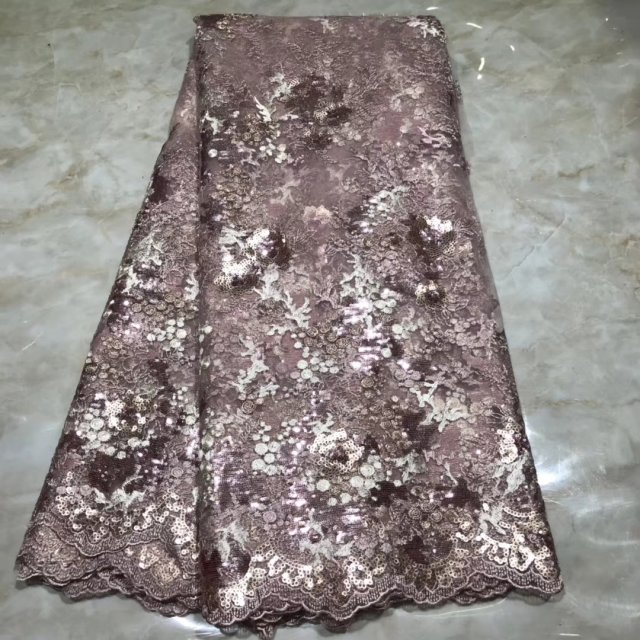 Heavily Sequinned Tulle Lace Fabric For Evening Party Dress Beautiful African Nigerian Lace Fabrics With Sequins For Wedding