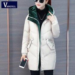 Vangull 2019 Women Winter Hooded Warm Coat Plus Size Green Cotton Padded Jacket Female Long Parka Womens Wadded Jaqueta Feminina 2