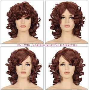 Image 3 - Afro Parrucca Sintetica Fibra Resistente Al Calore capelli Nero Naturale Breve Ricci Parrucche Dei Capelli Per Le Donne Nere