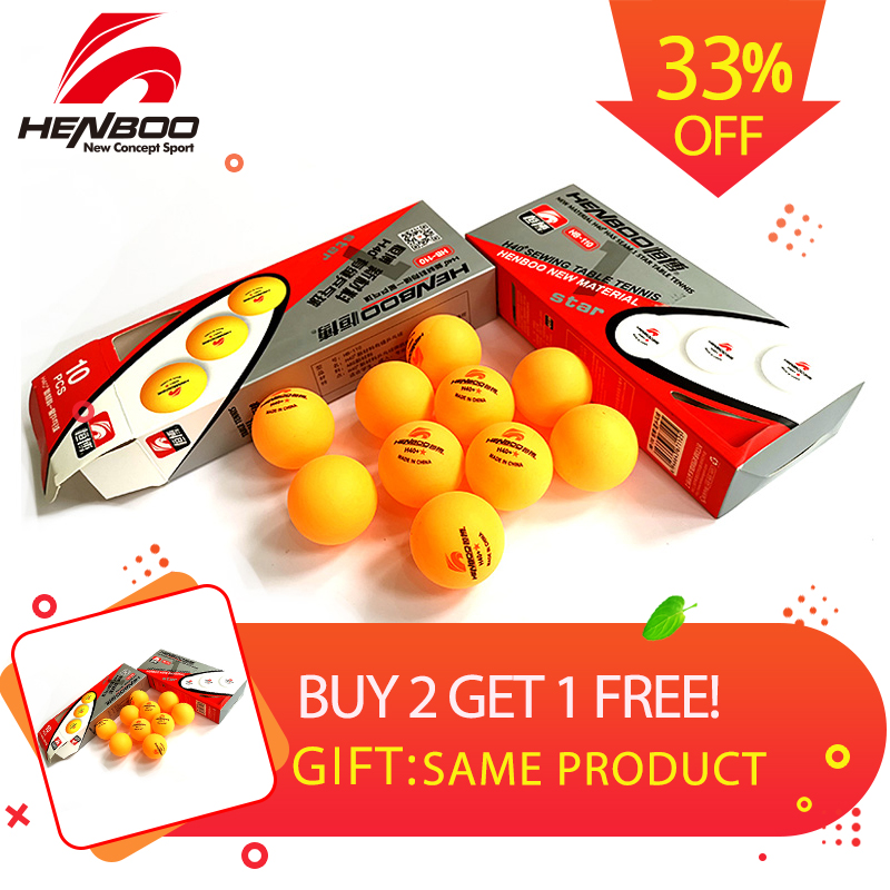 HENBOO 1-Star 10 pcs/lot Table Tennis Balls Ping Pong  New Material Seamed ABS Plastic Poly