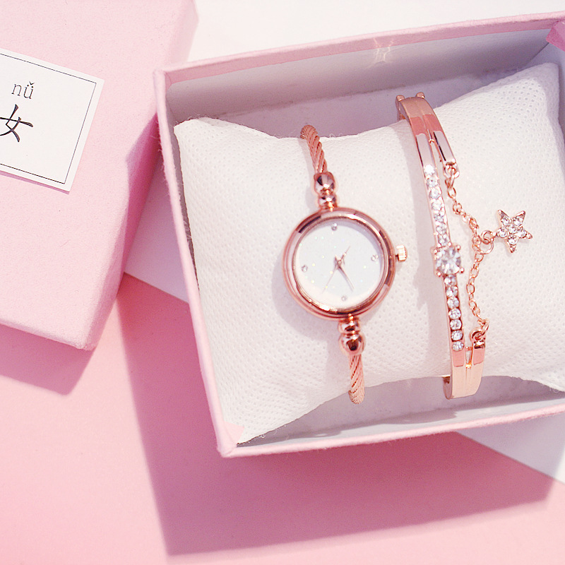 Fashion Women Romantic Starry Sky Wrist Watch Stainless Steel Ladies Bracelet Watch Set Quartz Wristwatch Clock Relogio Feminino