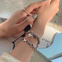 XIYANIKE Hot Letter Love Heart Chain Bracelet Female INS Smile Brand Retro Silver Plated Simple Fashion Jewelry Gorgeous Bangles
