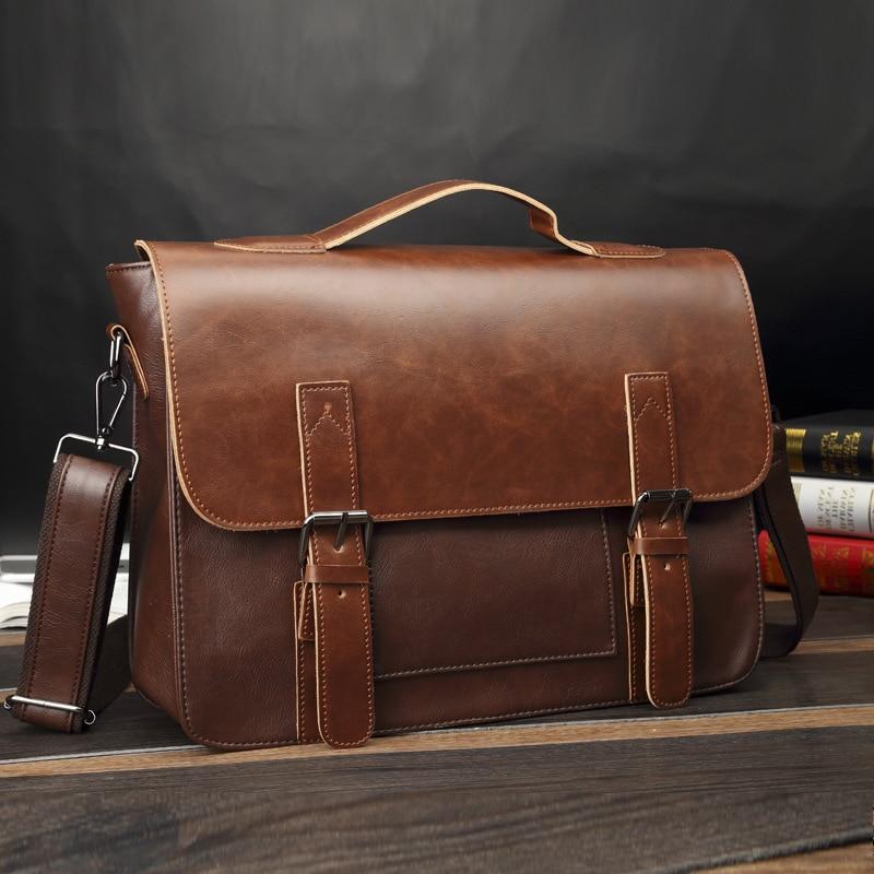 Artificial Leather Business Handbag Laptop Briefcases for Men Leather Casual Men Bag Messenger Shoulder Bags Man