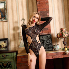 2019 new women's sexy nightdress Erotic lingerie female large size open shackle buckle body tied lace long sleeve()