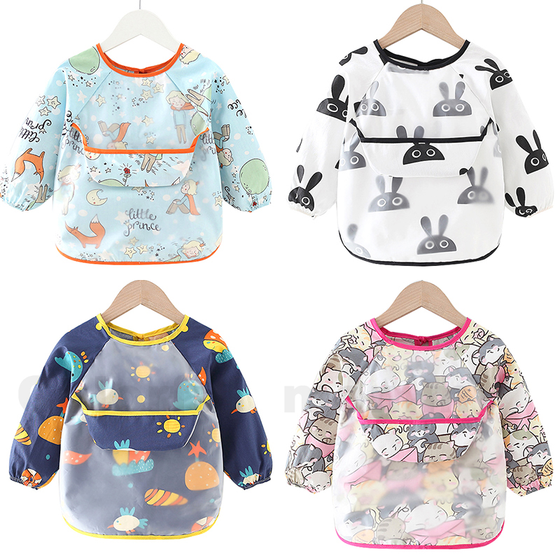 Baby Bib Feeding Waterproof Long Sleeve Shirt Painting Drawing Bandana Bibs&Burp with Pocket Baberos Impermeables Para Bebe|Bibs & Burp Cloths| - AliExpress