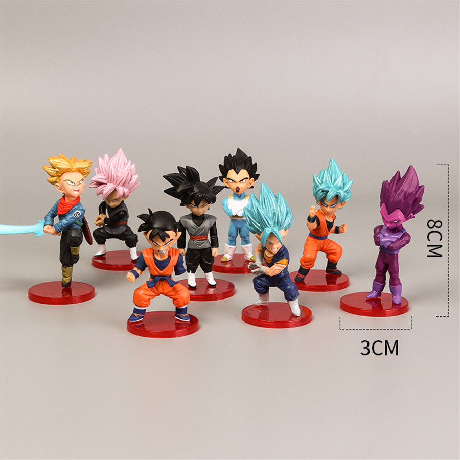 18 Style 8cmX3cm Action Figures  Mini Goku Saiyan Vegeta Gohan Dragon Ball Z Figure Boys Toy PVC Model Anime Collection Kid Toy