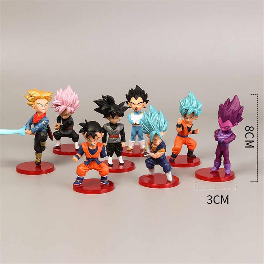18 estilo 8cm x 3cm figuras de ação mini goku saiyan vegeta gohan dragon ball z figura meninos brinquedo pvc modelo anime coleção brinquedo do miúdo