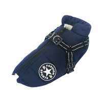 Navy Blue-Large Pet Dog Jacket With Harness Winter Warm Dog Clothes