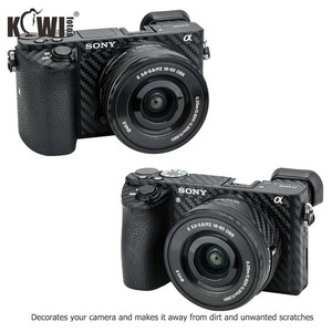 Image 2 - Anti Slide Kamera Körper Carbon Faser Film Kit Für Sony Alpha A6500 + SELP1650 16 50mm Objektiv anti Scratch Haut Abdeckung 3M Aufkleber