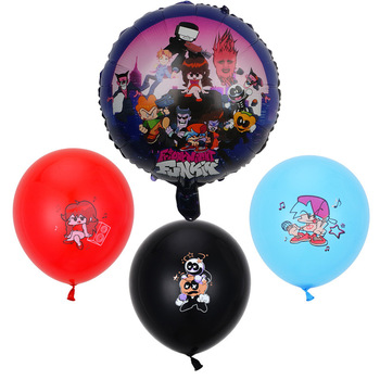 Nowy piątek noc Funkin lateks z balonów foliowych balon urodzinowy dzieci nadruk kreskówkowy zaopatrzenie firm Baby Shower dekoracje weselne tanie i dobre opinie Disney CN (pochodzenie) Balloon 18 inches Aluminum film foil Friday Night Funkin Aluminum film balloon printing circular