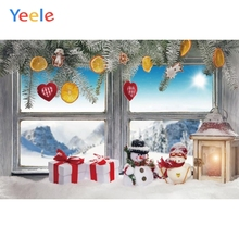 Yeele Christmas Backdrop Winter Snow Lantern Window Gift Lemon Pine Tree Snowman Baby Photography Background For Photo Studio