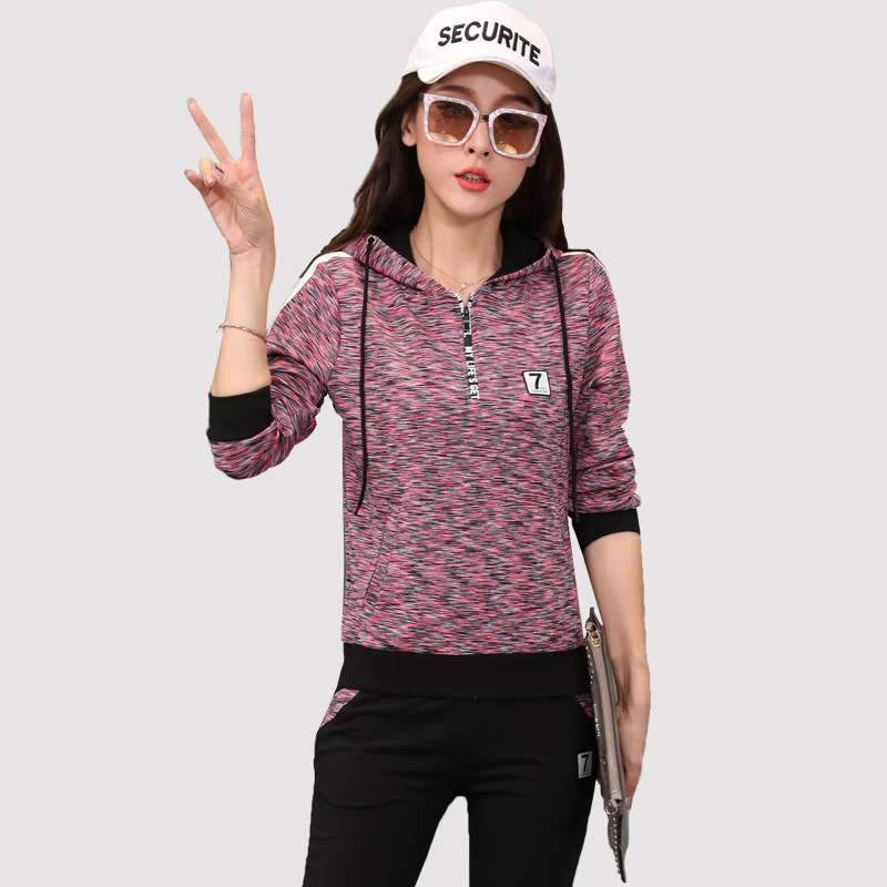 Fashion Casual Sports WOMEN'S Suit Spring And Autumn New Style Hoodie Women's Running Sports Clothing Two-Piece Set Sports Set
