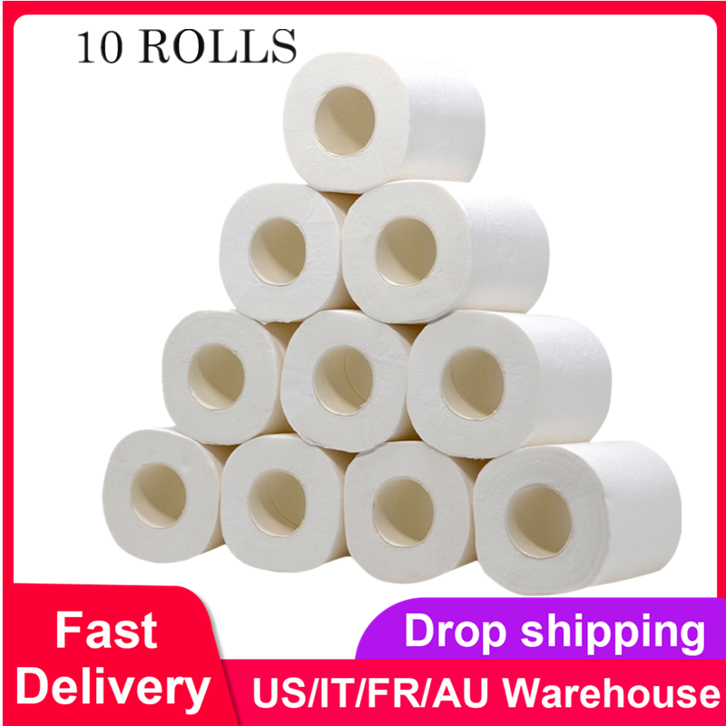 Soft Toilet Paper 4 Layers Tissue Rolling Paper Household Toilet Paper For Home Kitchen Travel Roll Bathroom Product  White 10pc