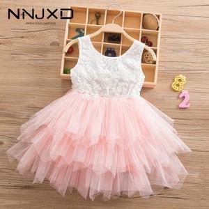 Summer Beading Girl Dress 2019 White Backless Girls Teenage Princess Dress Irregular Tutu 2-6 Years Pink Children Dresses Pink(China)