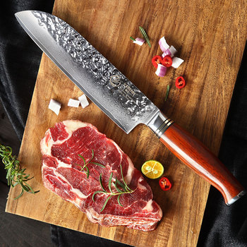 """YARENH 7"""" Santoku Knife - Professional Chef Knife - Japanese Damascus Steel Kitchen Knives - High Quality Utility Cooking Tools"""