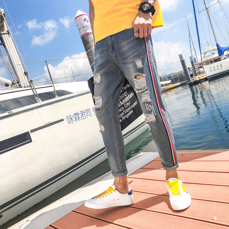 Men Stretchy Ripped Skinny Biker Print Jeans Hiphop Destroyed Hole Cuffs Loose Fit High Quality Ankle Length Jeans Plus Size